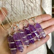 Amethyst Spiral Point Pendants