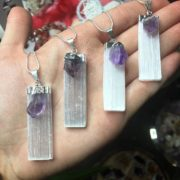 Selenite with a beautiful Amethyst Gem Pendant