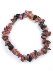Rhodonite Gemstone Chip Bracelet.